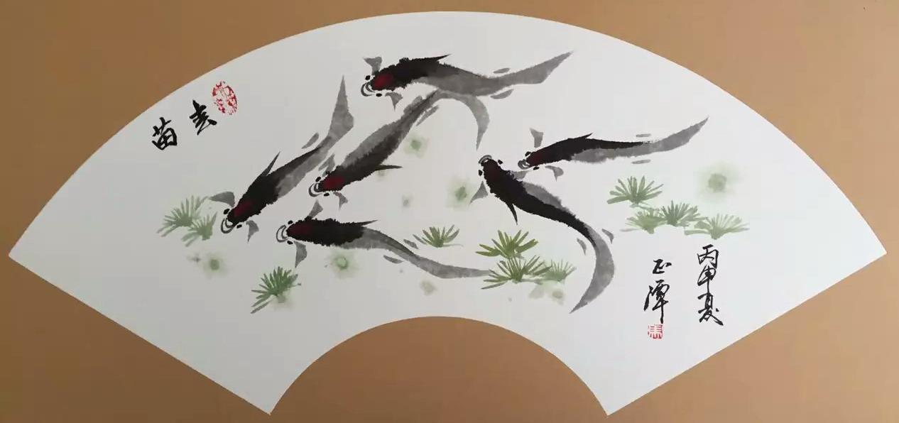名家  扇形美术作品:春苗 1993年以来国画虾,鱼,兰等作品被德国,波兰